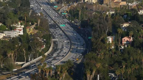 California-Los-Angeles-High-Angle-Shot-Of-Highway-Trees-And-Surronding-Houses