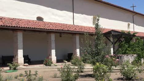 California-Mission-San-Antonio-De-Padua-With-Courtyard-Garden-Pan