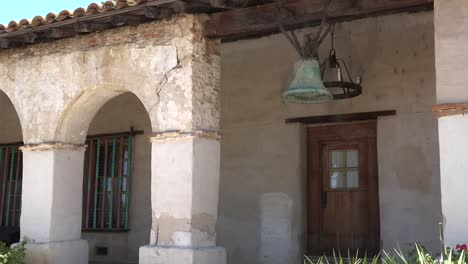 California-Mission-San-Miguel-Arcangel-Colonnade-With-Bell