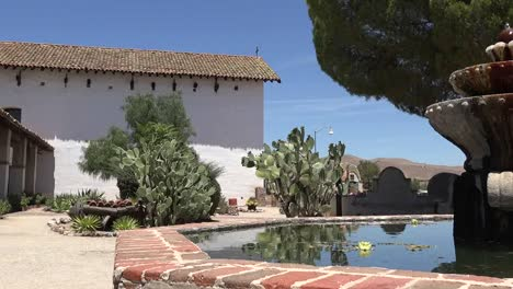 California-Mission-San-Miguel-Arcangel-Courtyard-Fountain-Pan