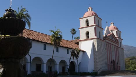 California-Santa-Barbara-Mission-With-Fountain-And-Colonnade-Pan