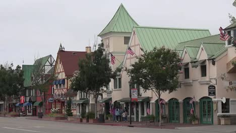 California-Solvang-Danish-Style-Architecture-Along-A-Street-Pan