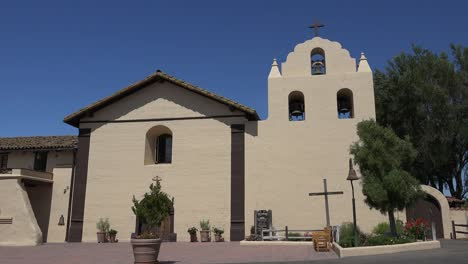 California-Solvang-Mission-Santa-Ines-Church-Front-With-Cross-In-Sun