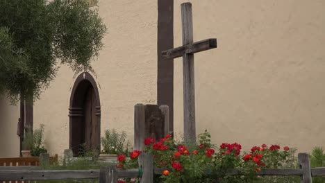 California-Solvang-Mission-Santa-Ines-Church-With-Cross-And-Flowers