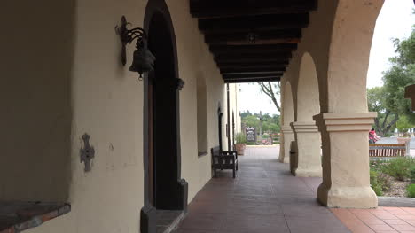 California-Solvang-Mission-Santa-Ines-Colonnade-With-Benches
