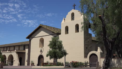 California-Solvang-Mission-Santa-Ines-Front-Facade-In-Sun