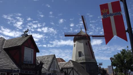 California-Solvang-Banner-And-Windmill