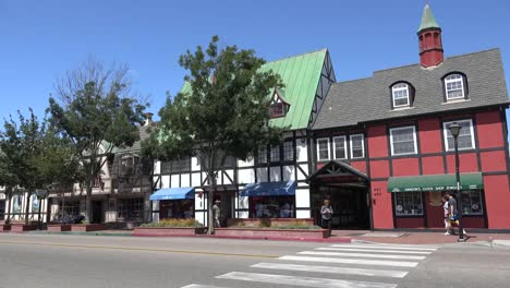 California-Solvang-Shops-With-Street-Traffic-In-Front