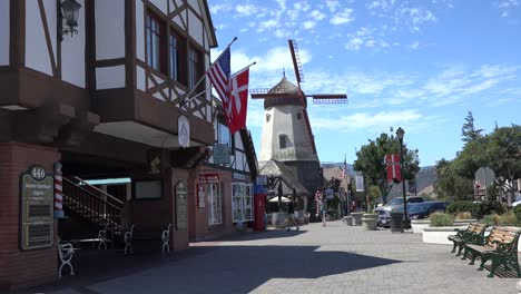California-Solvang-Windmill-Flags-And-Jogger