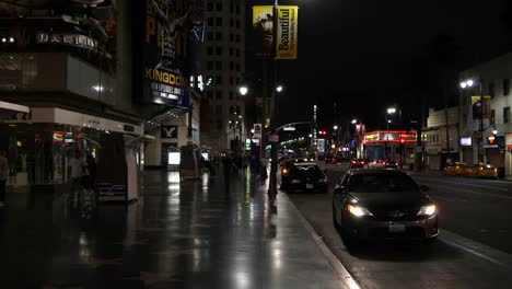 California-Car-Parking-On-The-Side-Of-Hollywood-Boulevard-At-Night