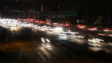California-Cars-Going-Down-A-Throughway-At-Night-Time-Lapse
