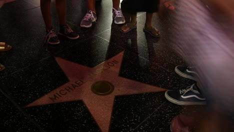 Los-Angeles-Hollywood-Walk-Of-Fame-Feet-By-Michael-Jackson-Star-At-Night