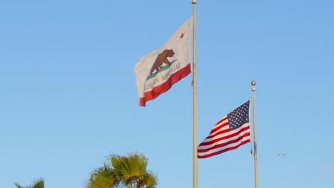 Los-Angeles-Venice-Beach-Boardwalk-American-And-California-State-Flags-With-Gulls