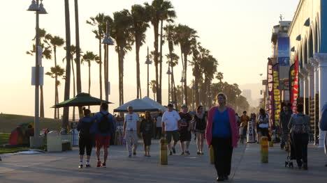Los-Angeles-Venice-Beach-Boardwalk-Pedestrians-Walk-Past-Late-Afternoon