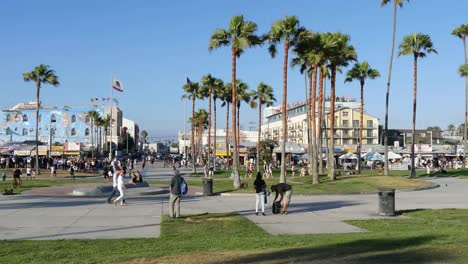 Los-Angeles-Venice-Beach-Boardwalk-Wide-Angle-View-From-Adjacent-Park