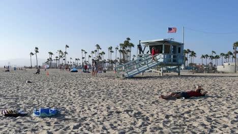 Los-Angeles-Venice-Beach-Lifeguard-Walks-Up-Tower-Ramp