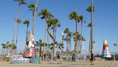 Los-Angeles-Venice-Beach-Park-W-Palm-Trees-Art-And-Graffiti-Wide-View