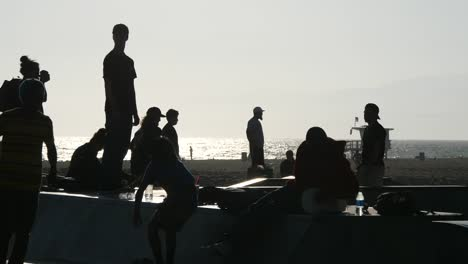 Los-Angeles-Venice-Beach-Young-Skateboarders-Backlit