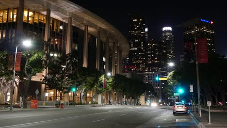 Los-Angeles-Civic-Building-And-Cars-On-Road-At-Night