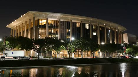 Los-Angeles-Civic-Building-And-Pond-At-Night-Time-Lapse