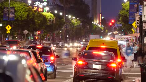 Los-Angeles-Evening-Traffic-On-Hollywood-Boulevard-Moves-After-Light-Turns-Green-Time-Lapse
