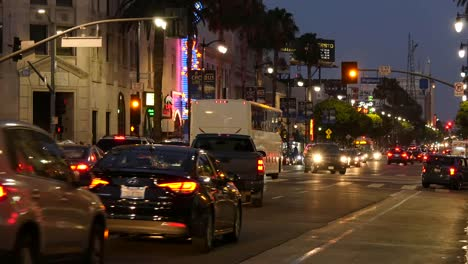 Los-Angeles-Evening-Traffic-On-Hollywood-Boulevard-Stops-At-A-Traffic-Light