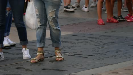Los-Angeles-Golden-Sandals-And-Tennis-Shoes-At-The-Hollywood-Walk-Of-Fame