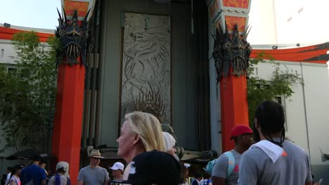 Los-Angeles-Tilts-Down-To-Tourists-In-Front-Of-Chinese-Theater