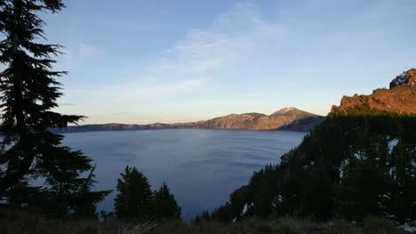 Oregon-Crater-Lake-Pan-Toward-Hill-In-Evening