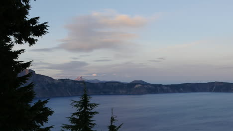Oregon-Crater-Lake-Dark-Trees-After-Sunset-Pan-And-Tilt
