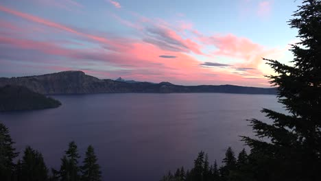 Oregon-Crater-Lake-Dawn-Framed-By-Evergreen-Tree