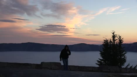 Oregon-Crater-Lake-Dawn-With-Man-Walking