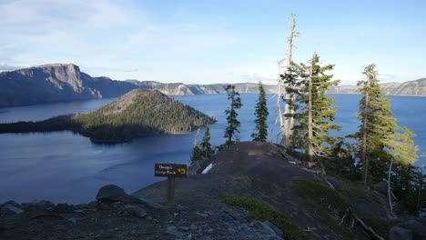 Oregon-Crater-Lake-With-Danger-Sign-And-Wizard-Island