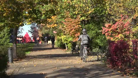 Oregon-Bikers-And-Walkers-On-Path-In-Fall