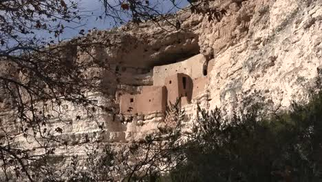 Arizona-Montezuma-Castle-Framed-With-Leaves-Zoom-In
