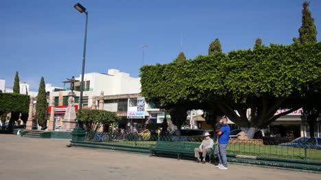 Mexico-Arandas-Plaza-With-Man-On-Bench