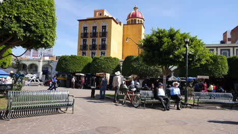 Mexico-Arandas-Plaza-With-Men-On-Benches