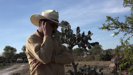 Mexico-Jalisco-Man-At-Rancho-With-Cell-Phone
