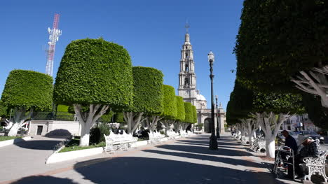 Mexico-San-Julian-Plaza-With-Benches-And-Church
