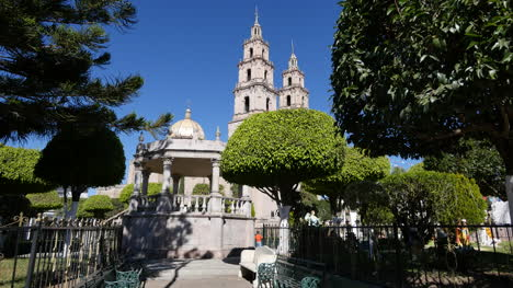 Mexico-Santa-Maria-Church-And-Plaza-With-Bandstand