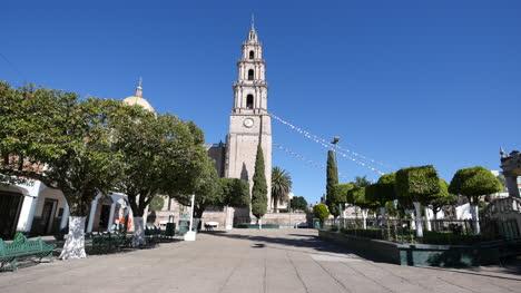 Mexico-Santa-Maria-Church-Tower-And-Blue-Sky