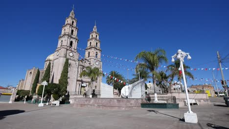 Mexico-Santa-Maria-Church-With-Street-Lights