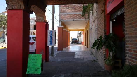 Mexico-Santa-Maria-Del-Valle-Covered-Sidewalk