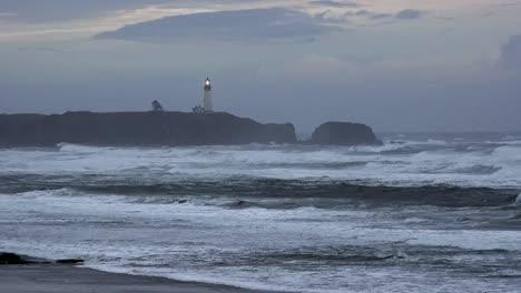 Oregon-Lighthouse-On-Coast-In-Grey-Evening