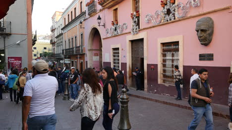 Mexico-Guanajuato-Crowd-Of-People-Down-Street