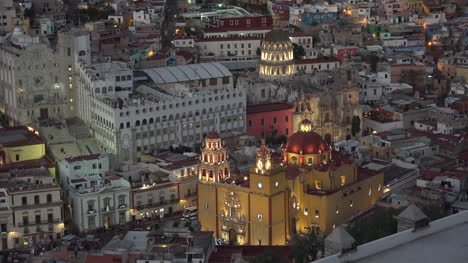 Mexico-Guanajuato-View-With-Yellow-Church-At-Night