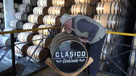 Mexico-Jalisco-Sid-Smells-Tequila-In-Barrel