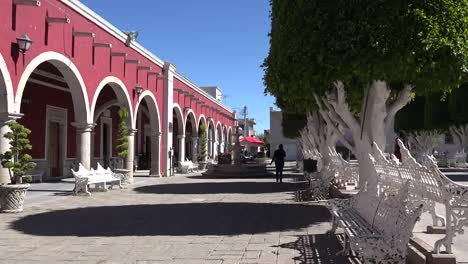 Mexico-San-Julian-Woman-Walks-By-Arcade