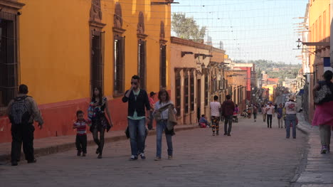 Mexico-San-Miguel-Orange-Building-And-Tourists
