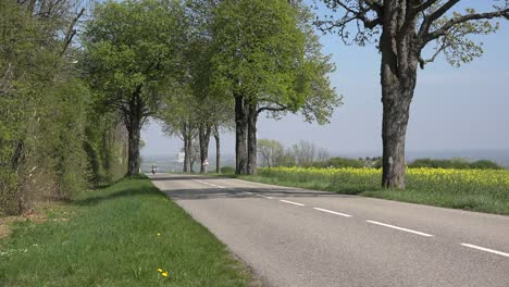 France-Alsace-Motorcycle-On-Road-In-Spring